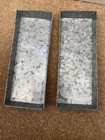 2x Zinc Metal Square Storage Tray Or Planter, Garden Or Kitchen 30 X 12 X 2.5cm