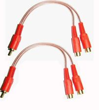 2 x 20cm RCA PHONO Y SPLITTER CABLE 2 Female to 1 x Male CAR AMP SUB LEAD ...