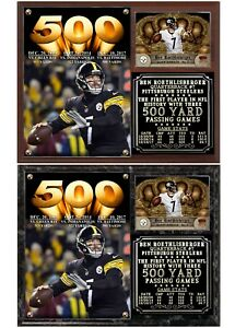 Ben Roethlisberger Record 3 500 Yard Passing Games Photo Card Plaque