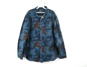 Vintage Streetwear Mens XL Long Sleeve Pheasant Print Flannel Button Down Shirt