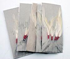 Five  White Cod Feather Traces. 4 Hooks per Trace. Sea Fishing. Mackeral & Cod