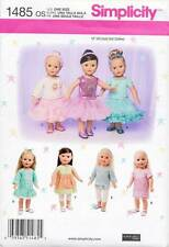 """SIMPLICITY SEWING PATTERN 1485 18"""" DOLL CLOTHES - DRESSES, TOP, TUNIC & SKIRT"""