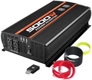 POTEK 5000W Power Inverter 4 AC Outlets 12V DC to 110V AC with Wireless Remote