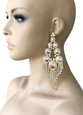 "5.75"" Long Statement Earrings, AB Crystals,Drag Queen, Bridal, Showgirl, Pageant"