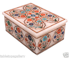 "5""x3.5""x2"" White Marble Jewelry Storage Box Mosaic Inlay Pietradura Decor H2261"