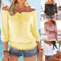 Women Long Sleeve Sexy Cold Off Shoulder Loose Shirt Summer Blouse Tops T-Shirt