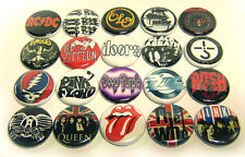 """20 1970s HARD ROCK Bands ONE Inch Buttons 1"""" Pins Pinback Music Badges Set #1"""