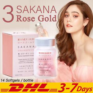 3x ROSEGOLD SAKANA Collagen x10 Anti Aging Wrinkles Skin Whitening 14 Softgels