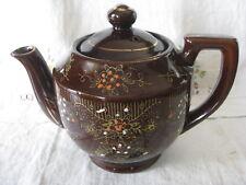 Vintage Moriage Style Teapot redware Brown w/raised enamel handpainted EVC Japan