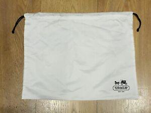 "Coach Leatherware White Satin Drawstring Dust Cover Storage Bag Dustbag 14 X 10"""