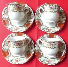 Vintage White Red Gold Demitasse Cups & Saucers Lot of 4 Japan
