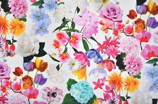 Deko Möbel Patchwork Stoffe Baumwolle Vorhang Gardine Bunte Blumen 1339/50 Weiss