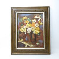 Vtg Mid Century Abstract Flowers Vase Still Life Oil Painting Hand Carved Frame