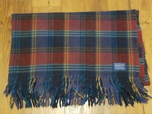 """Vintage Pendleton Wool Blanket Lap Throw 60""""x 48"""" Burgundy Navy Rust Teal Plaid"""