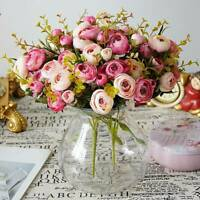 Artificial Flowers Silk Camellia Roses Bouquet Home Floral Wedding Decor n