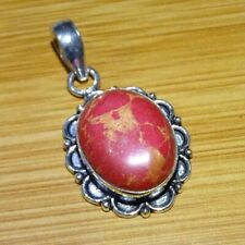 925 Sterling Silver Plated Red Copper Turquoise Stone Pendant Jewelry CH85