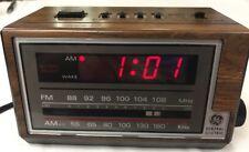 General Electric Alarm Clock AM/FM Radio 7-4601A 9v Battery Backup Vintage