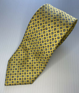 US Polo Assn Mens Tie RN- 13185 Yellow W/blue Square Dots VGC Pre Owned *L1