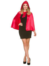 Short Soft Satin Red Riding Hood Cape & Hood Fairytale Halloween Fancy Dress