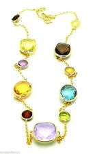 14K Yellow Gold Gemstones Necklace With Pink Amethyst Center Stone 20 Inches