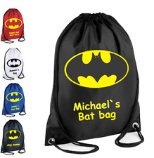 PERSONALISED Drawstring Bag BATMAN Bag for Kids Children School Gym Gym Gift 50140fe36be6e