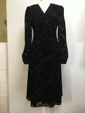 NWT Bruce by Bruce Oldfield black velvet devore floral dress long sleeve 10