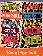 """BIG Justice """"BFF"""" beach towel for TWO vibrant designs & BFF messaging 60X70 NWT"""