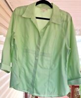 Coldwater Creek Women's Light Green Button Front Cotton Blouse Size XL    OO204
