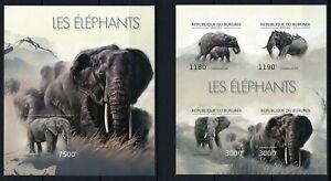 BURUNDI 2012 LES ELEPHANTS LOXODONTA AFRICANA WILD ANIMALS FAU STAMPS IMPERF MNH