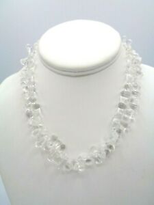 """Stunning Rock Crystal Quartz Silver Plated Toggle Clasp Necklace 15"""""""
