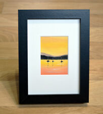 SARAH FEATHERSTONE, ORIGINAL ACEO SEASCAPE WATERCOLOUR PAINTING,Sunset Sky,Boats