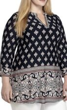 NWT - New Directions Women's 3/4 Sleeve Paisley Tunic Top Blouse Shirt - Plus 2x