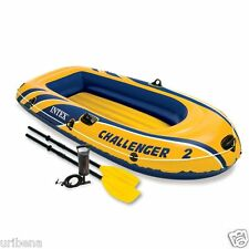 Intex Challenger 2 Person Inflatable Boat Set French Oars & High Output Air Pump