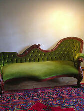 Vintage Antique Style Chaise Lounge-Sofa-Daybed-Couch French polish Green Velvet