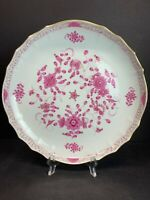 "VTG 19th C. Hand Paint Purple Indian Rose Meissen Plate Porcelain 10"" IN Width"