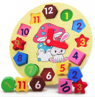 Kids Education Wooden Puzzle  Digital Clock Jigsaw  Geometry Stacking Xmas Toys