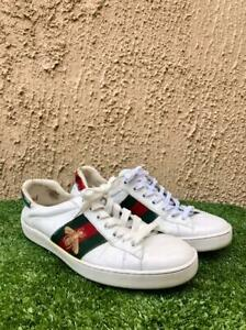 Gucci Womens Ace Bee Embroidered Sneakers White Leather