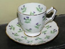 Aynsley purple thistle flowers green leaves pattern, Demitasse cup and saucer