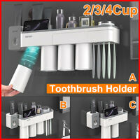 2/3/4 Cups Wall Mounted Toothbrush Holder Toothpaste Holder Bathroom Organiser X