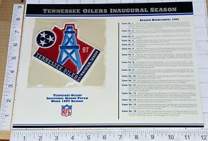 TENNESSEE OILERS INAUGURAL SEASON NFL FOOTBALL WILLABEE & WARD STAT & PATCH