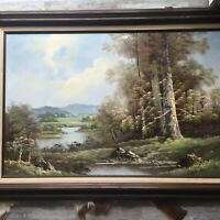 Original Vintage Oil Painting Signed by Artist B. Wilcox, Large Framed Landscape