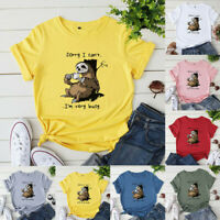 Women O Neck Basic T Shirt Sloth Print Blouse Ladies T-Shirt Tops Tee Plus Size