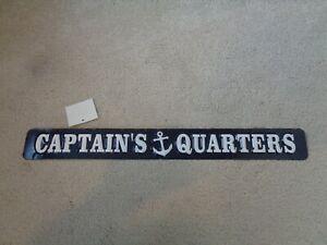 "NEW RUSTIC DISTRESSED METAL SIGN "" CAPTAIN'S QUARTERS "" NAUTICAL SEA BOAT THEME"