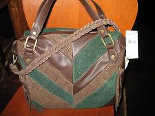 NWT ella moss 5LAB2163 EMU Brown Leather Green Suede Satchel Bag, Brown/Green