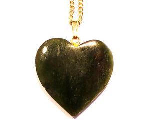 Pretty Natural Australian Nephrite Jade Heart Pendant free chain  (2750)