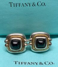 GENUINE TIFFANY & CO 18K GOLD STERLING SILVER 925 BLACK ONYX PIERCED EARRINGS