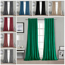 """Luxury Plush Velvet PAIR Curtains Eyelet Ring Top Fully Lined Ready Made 90""""x90"""""""