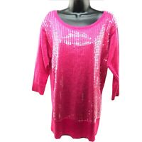 New Directions ND Women's Size L Shirt Pink Sparkle Sequin 3/4 Sleeve Party Top