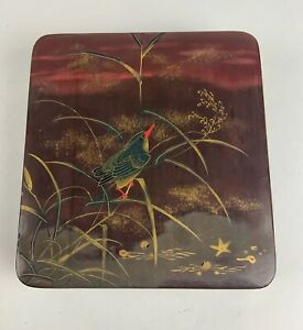 Antique Japanese hand painted Lacquer ware box