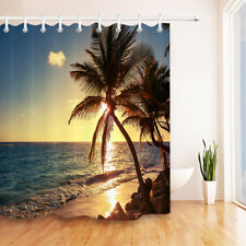 "72"" Bathroom Accessory Polyester Fabric Shower Curtain Set Hawaii Beach Sunset"